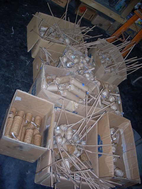 Fireworks for finales ready to be tied on